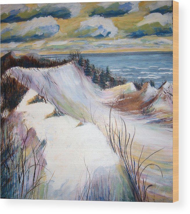 Snow Wood Print featuring the painting Snow On The Dunes by Art Nomad Sandra Hansen