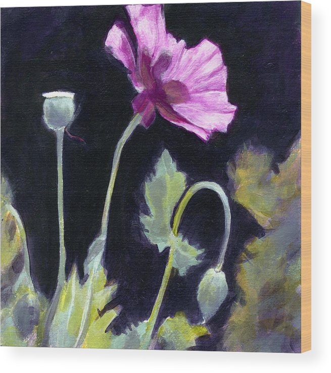 Poppy Wood Print featuring the painting Sunlit - Icelandic Poppy by Jean Beal
