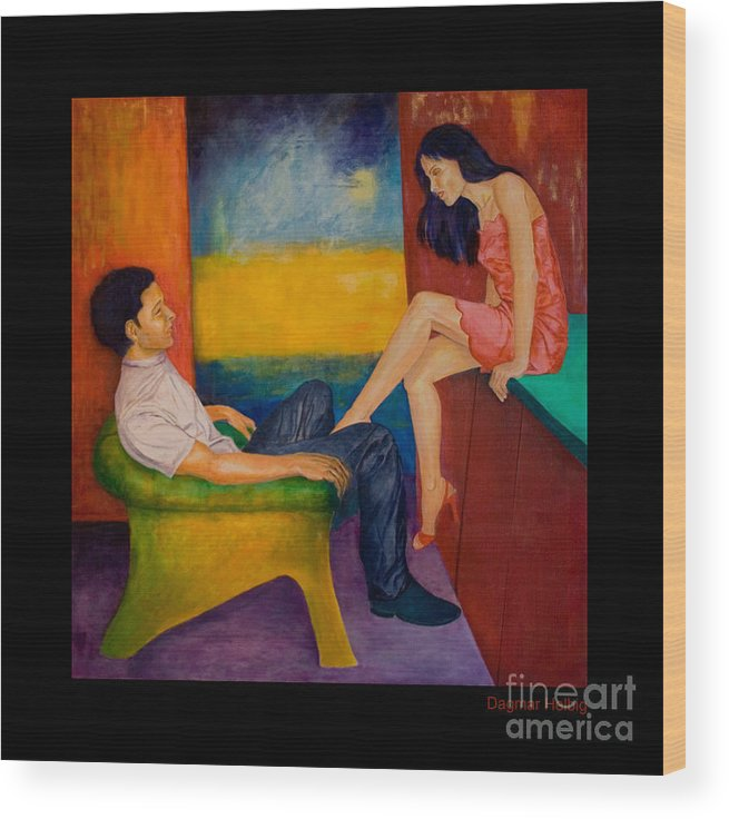 Human-picture-original Wood Print featuring the painting Temptation by Dagmar Helbig