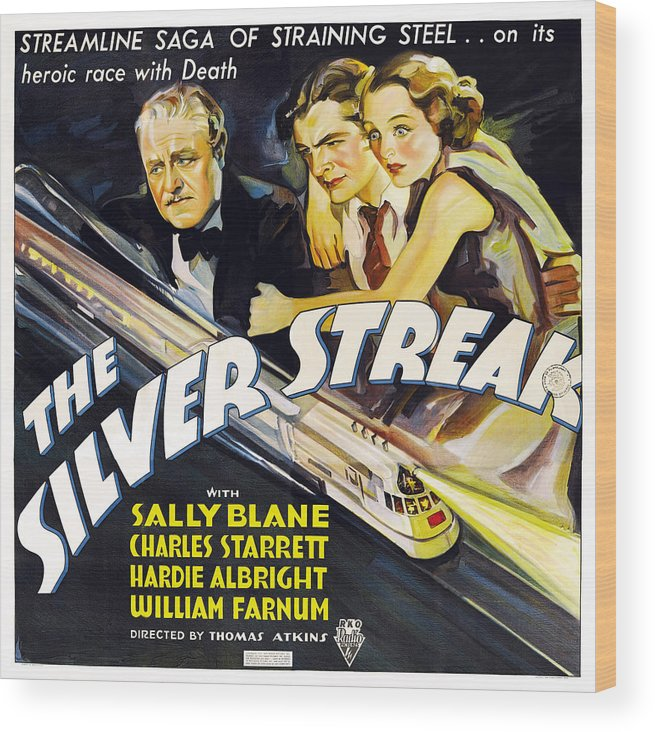 1930s Movies Wood Print featuring the photograph The Silver Streak, Us Poster Art by Everett
