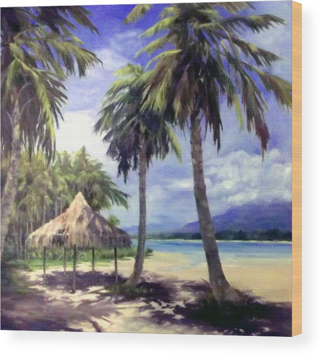 Palm Trees Wood Print featuring the painting Under The Palms by Tina Bohlman