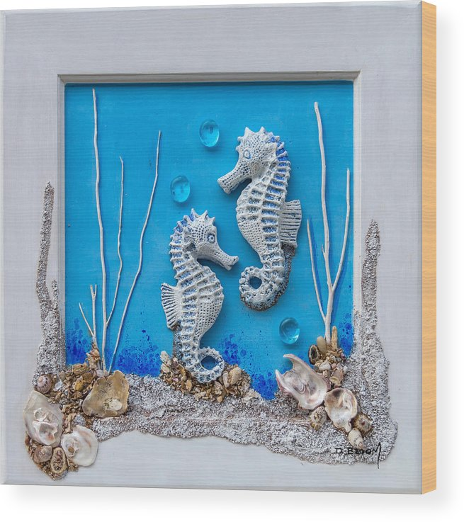 Dawn Broom Wood Print featuring the mixed media Window Into A Watery World 1 by Dawn Broom