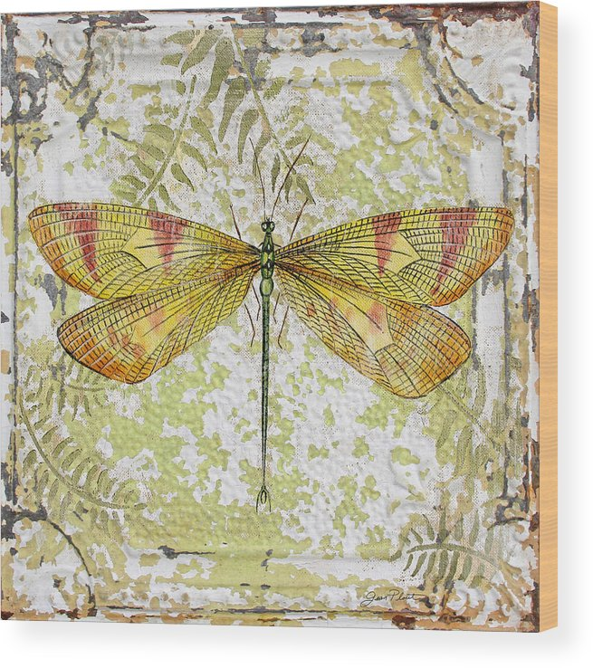 Acrylic Painting Wood Print featuring the painting Yellow Dragonfly On Vintage Tin by Jean Plout