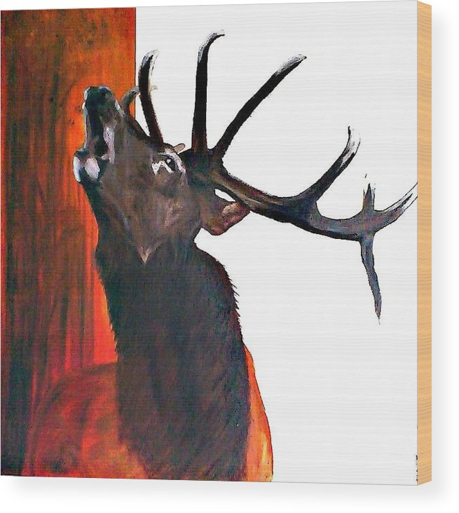 Wildlife Wood Print featuring the painting Call For Soulmate by Cass Oest