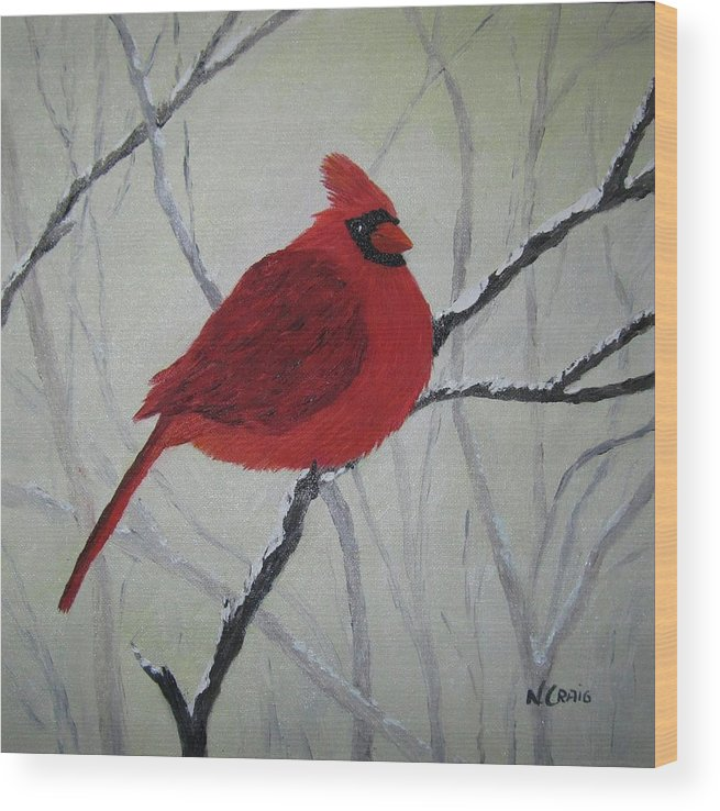 Bird Wood Print featuring the painting Cardinal In Winter by Nancy Craig
