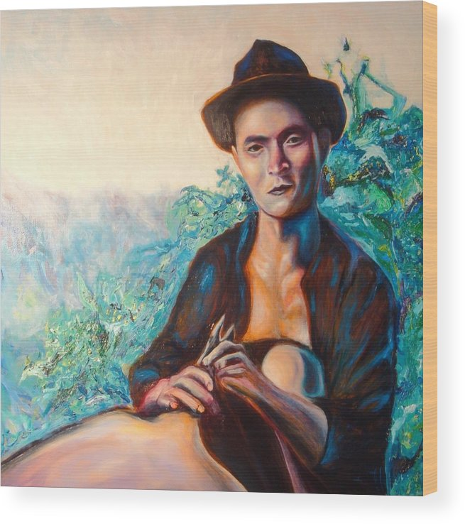 Portrait Wood Print featuring the painting Man Cooking Pig In Chiang Rai by Kennedy Paizs