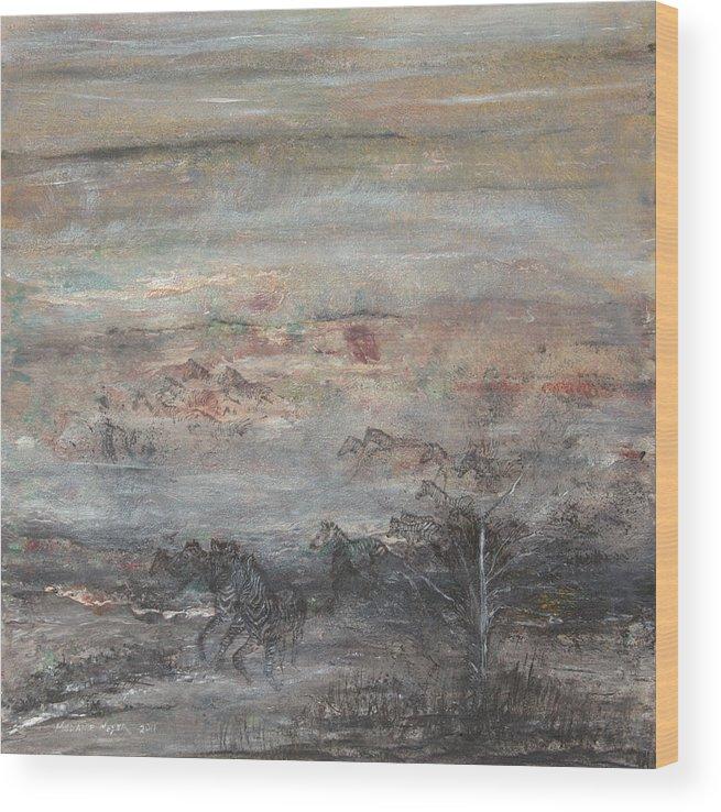 Zebra Wood Print featuring the painting Zebra Flight by Melanie Meyer