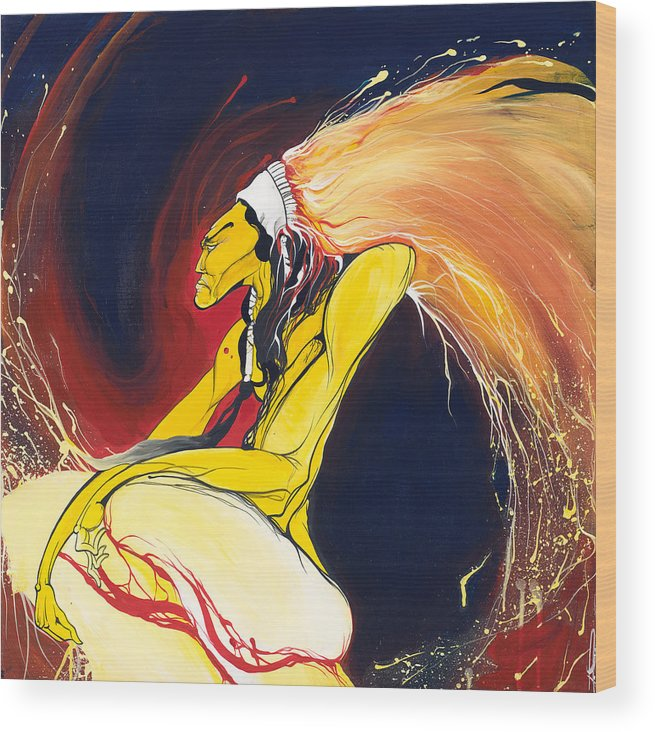 Chief Wood Print featuring the painting Crazy Horse by Dallas Poundmaker