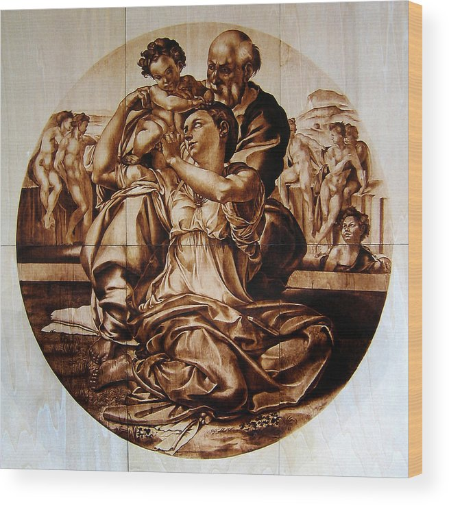 Dino Muradian Wood Print featuring the pyrography Doni Tondo by Dino Muradian