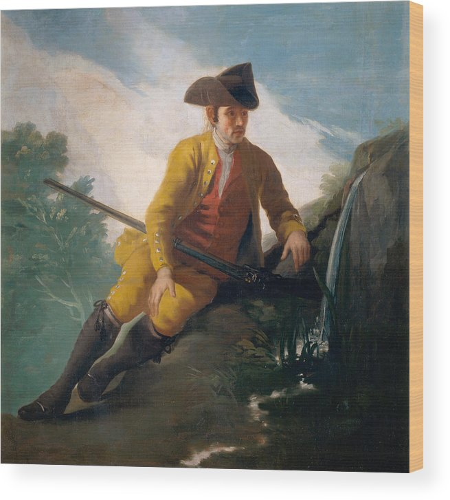 Europe Wood Print featuring the painting Hunter Beside A Spring by Francisco Goya