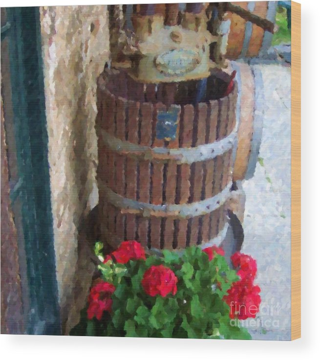Geraniums Wood Print featuring the photograph Wine And Geraniums by Debbi Granruth