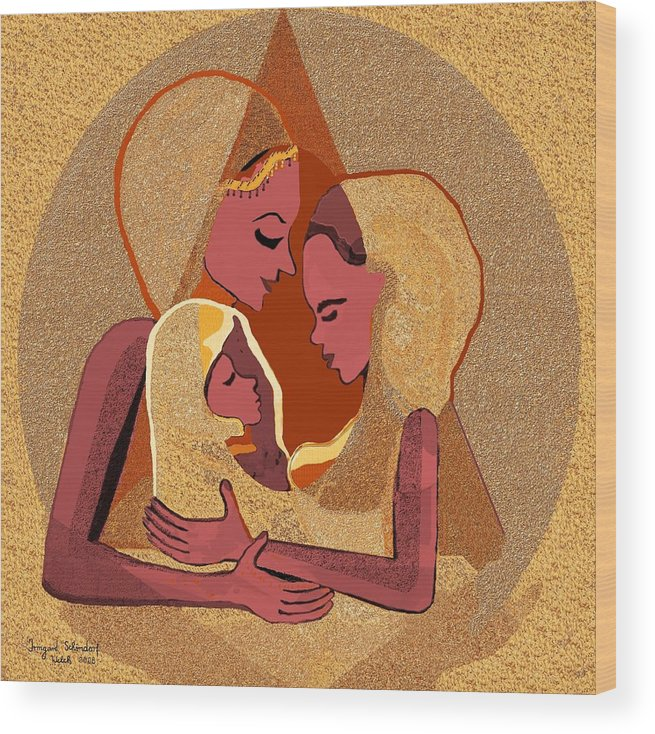 Women Wood Print featuring the digital art 158 - Women With Child 4 by Irmgard Schoendorf Welch
