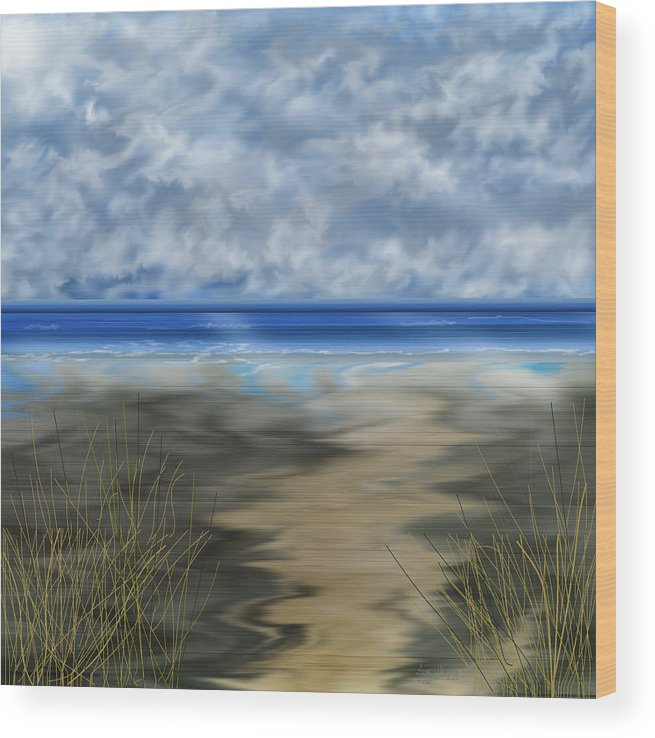 Anne Norskog Wood Print featuring the painting The Road Less Travelled by Anne Norskog