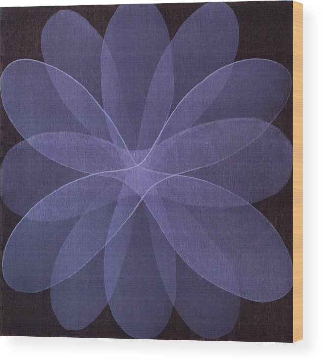 Abstract Wood Print featuring the painting Abstract Flower by Jitka Anlaufova