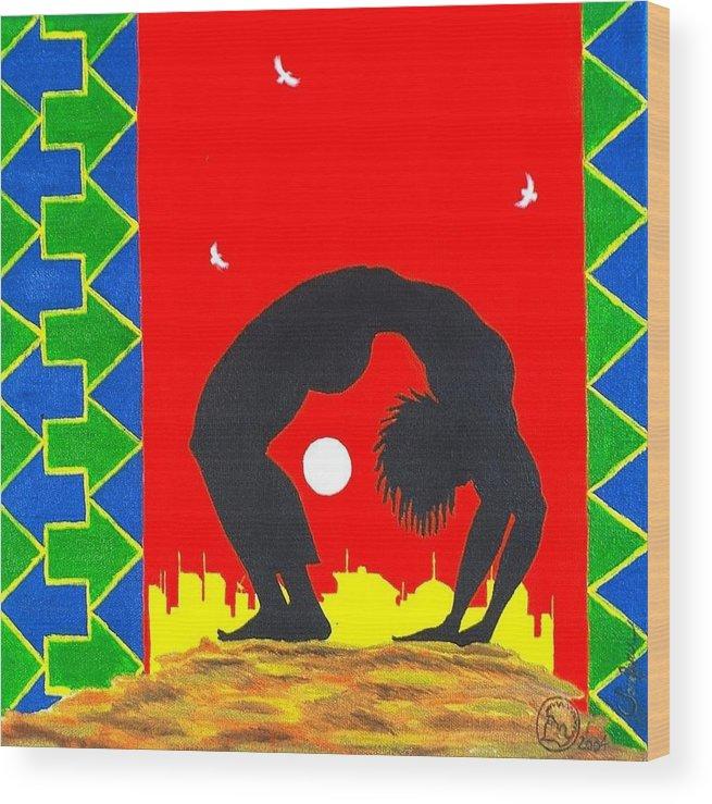 Maliksart Wood Print featuring the painting Uhuru Series by Malik Seneferu
