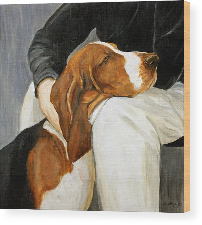 Basset Wood Print featuring the painting A Friend Indeed by Charlotte Yealey