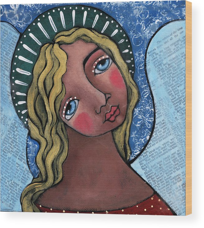 Angel Wood Print featuring the painting Angel With Green Halo by Julie-ann Bowden
