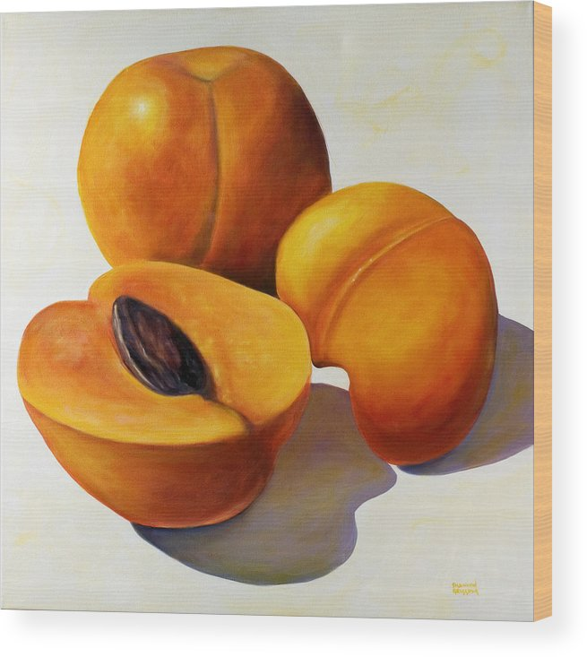 Apricots Wood Print featuring the painting Apricots by Shannon Grissom