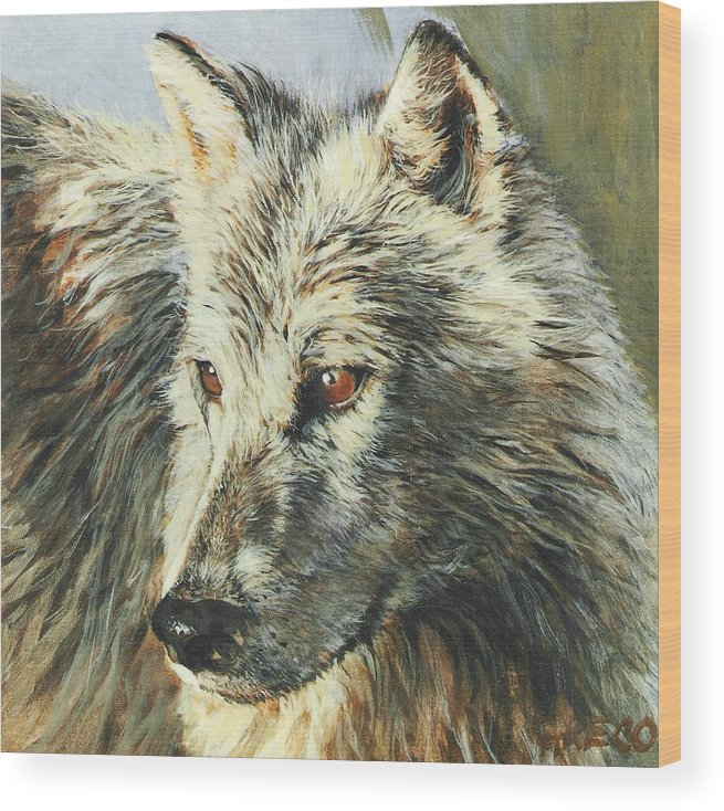 Wolf Wood Print featuring the painting Arctic Wolf by Steve Greco