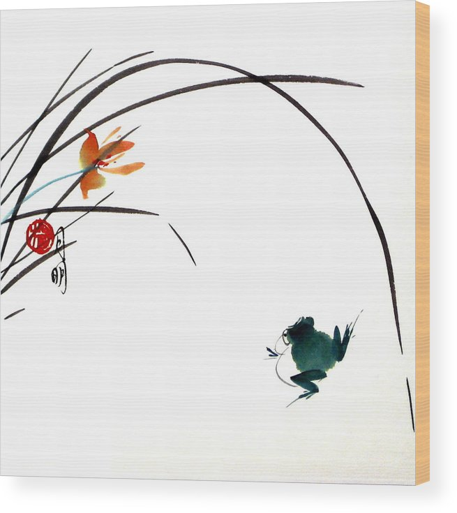 Chinese Painting Wood Print featuring the painting At Gaze by Ming Yeung