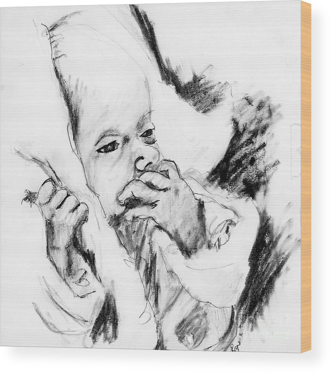 Pencil Sketch Wood Print featuring the drawing Baby Concern by Ron Bissett