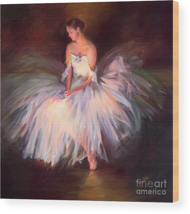 Best Selling Art Prints Wood Print featuring the painting Ballerina Ballet Dancer Archival Print by Patti Trostle