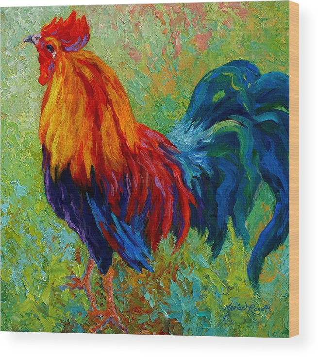 Rooster Wood Print featuring the painting Band Of Gold by Marion Rose