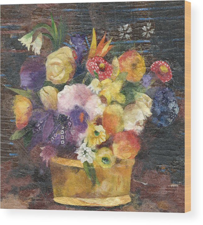 Limited Edition Prints Wood Print featuring the painting Basket With Flowers by Nira Schwartz