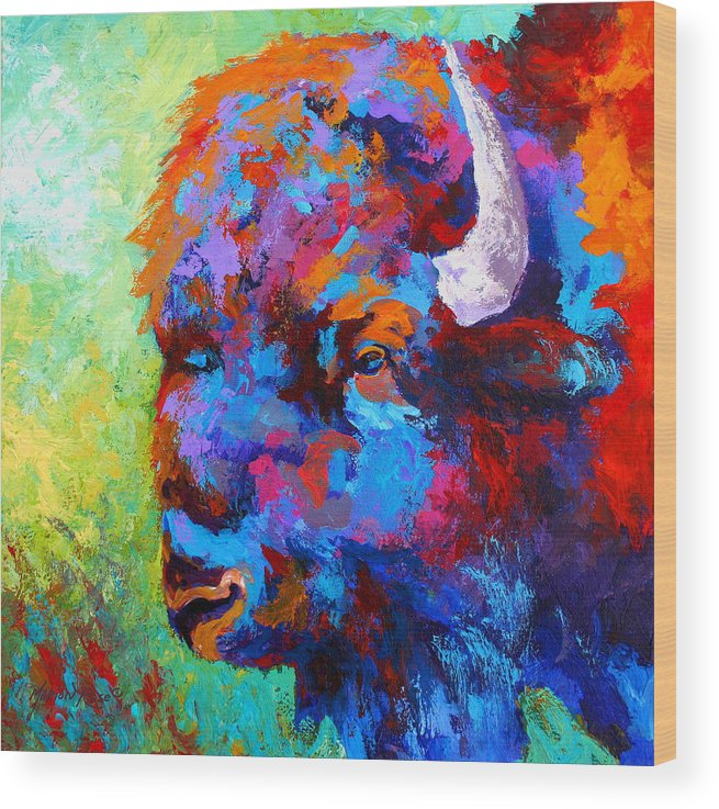 Wildlife Wood Print featuring the painting Bison Head II by Marion Rose
