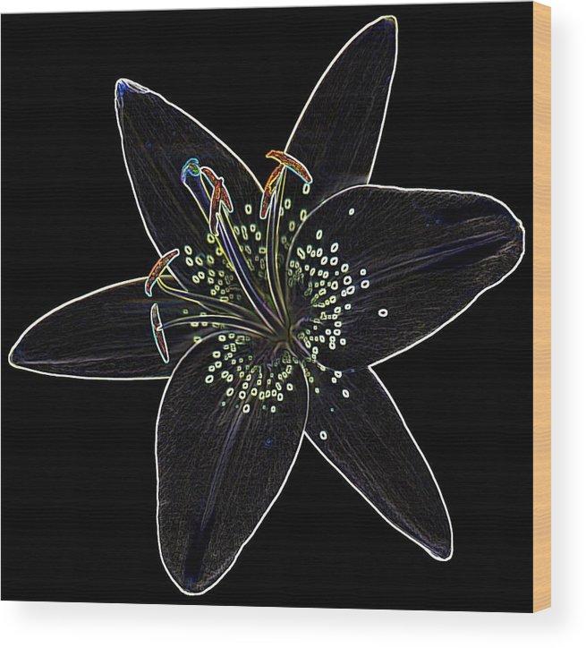 Scanography Wood Print featuring the digital art Black Velvet Lily by Deborah J Humphries