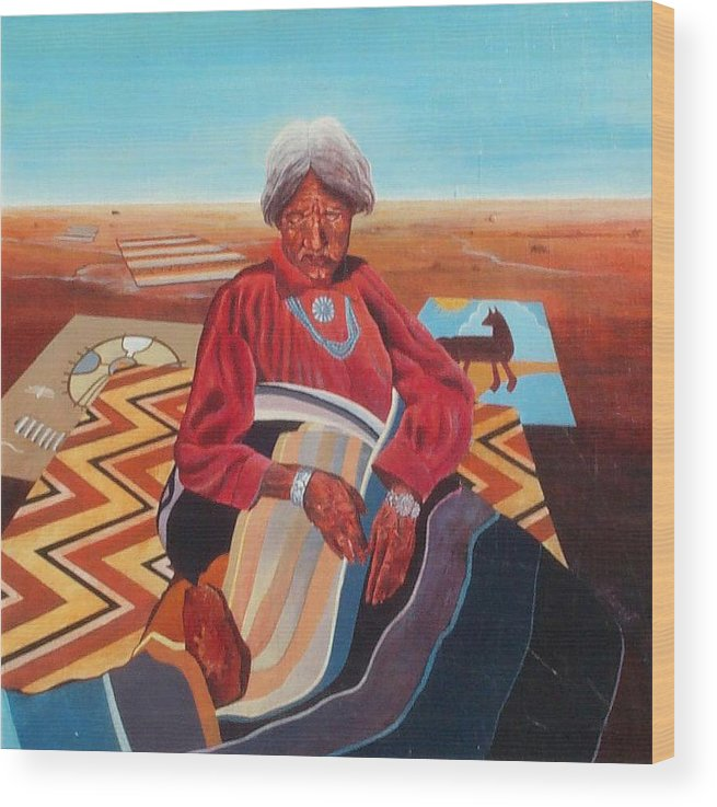 Old Indian Woman Wood Print featuring the painting Blanket Weaver by Don Trout