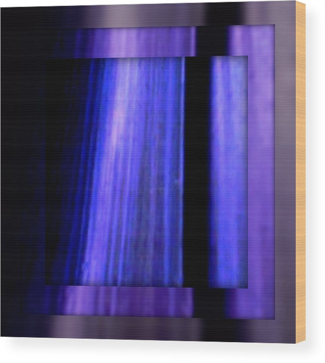 Joan Kamaru Wood Print featuring the digital art Blue Column Art by Joan Kamaru