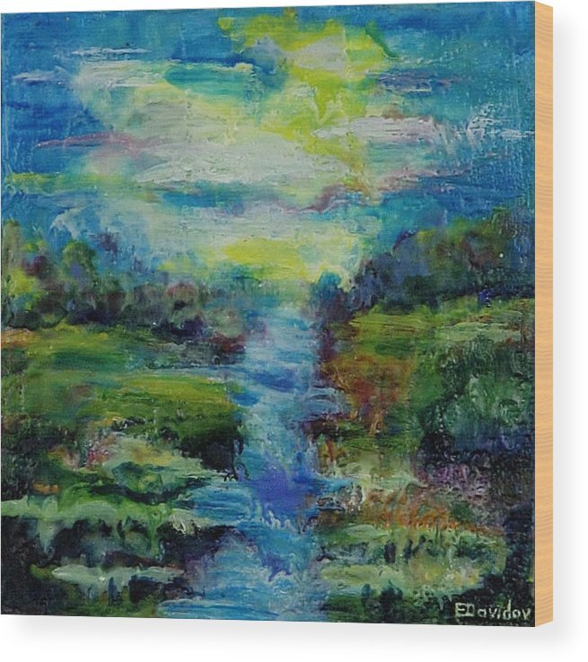 Water Wood Print featuring the painting Blue Landscape. by Evgenia Davidov