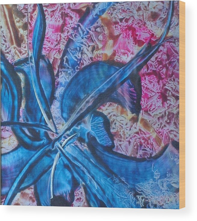 Abstract Wood Print featuring the painting Blue Orchid by John Vandebrooke