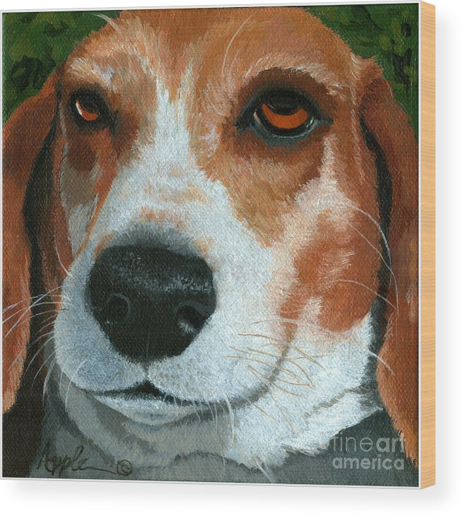 Dog Art Wood Print featuring the painting Bonnie - Beagle Painting by Linda Apple