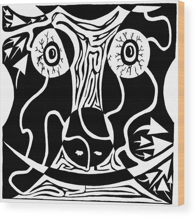 Rorschach Wood Print featuring the drawing Bull Charging Rorschach by Yonatan Frimer Maze Artist