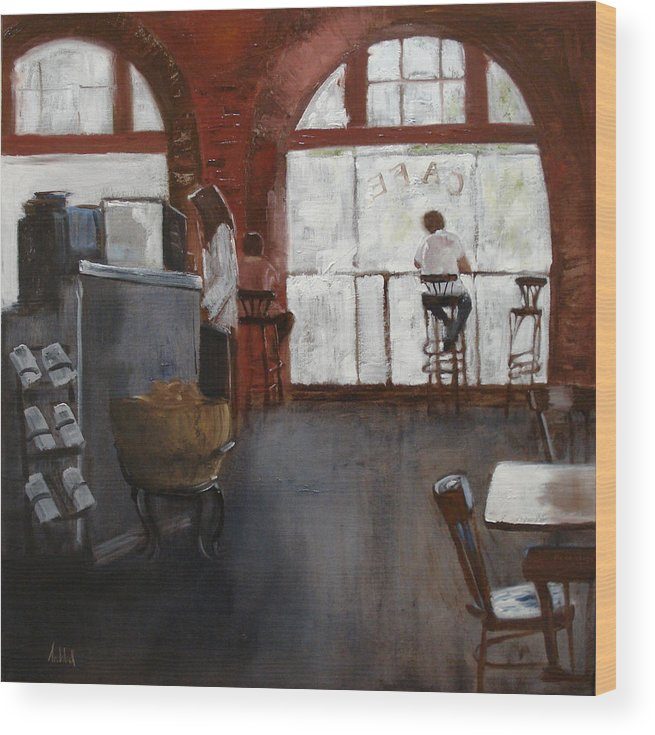 Landscape Wood Print featuring the painting Cafe by Barbara Andolsek