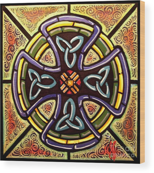 Celtic Wood Print featuring the painting Celtic Cross 2 by Jim Harris