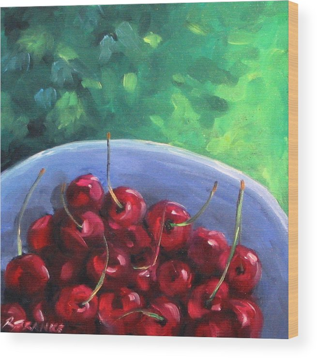 Art Wood Print featuring the painting Cherries On A Blue Plate by Richard T Pranke