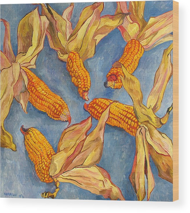 Corn Wood Print featuring the painting Corn by Vitali Komarov