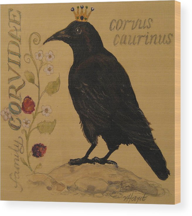 Crow Wood Print featuring the painting Corvus Caurinus by Victoria Heryet