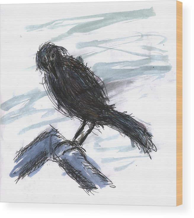 Kevin Callahan Wood Print featuring the painting Crow In The Wind by Kevin Callahan
