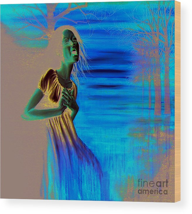 Woman Wood Print featuring the painting Diluvio De Lagrimas by Ryan Swallow