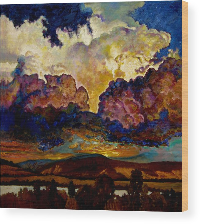 Sunset Wood Print featuring the painting Evening Clouds Over The Valley by John Lautermilch