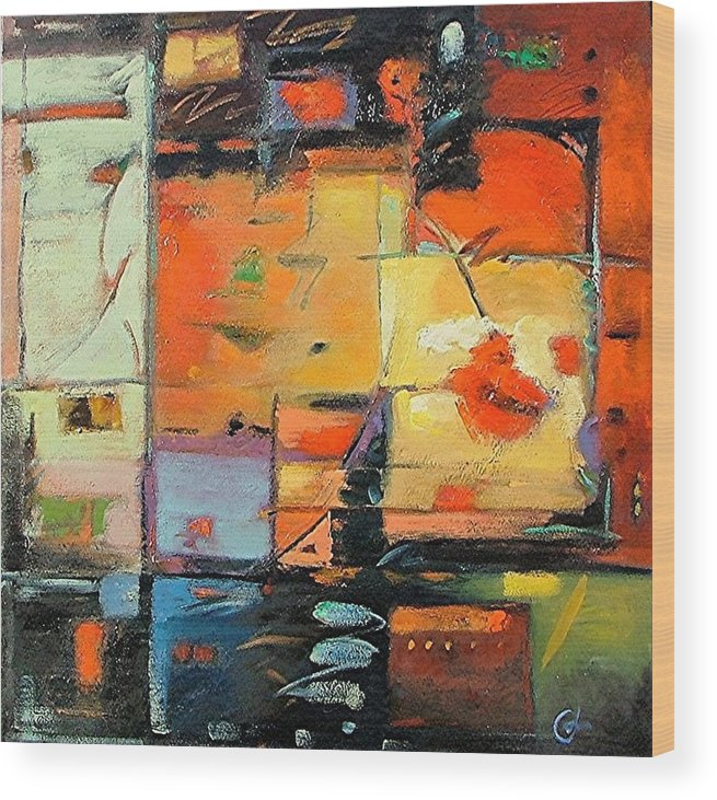 Abstract Painting Wood Print featuring the painting Evening Light by Gary Coleman