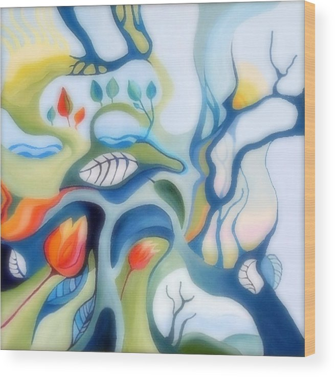 Fantasy Landscape Wood Print featuring the painting Fantasy Landscape by Carola Ann-Margret Forsberg