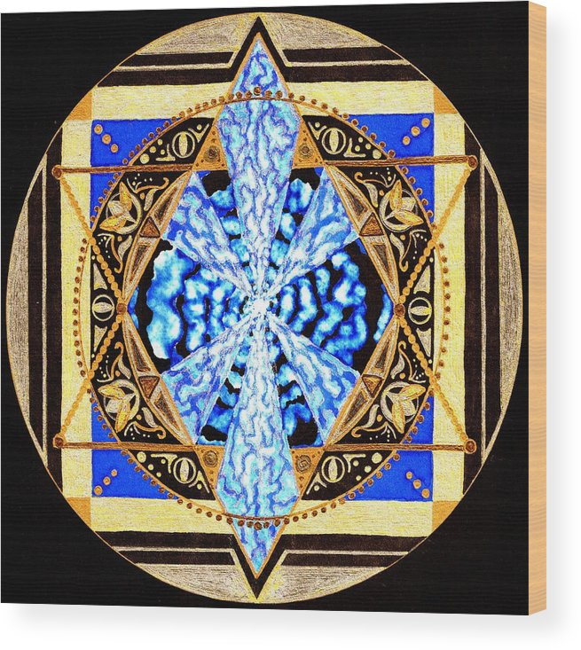 Mandala Wood Print featuring the painting From Within by Pam Ellis
