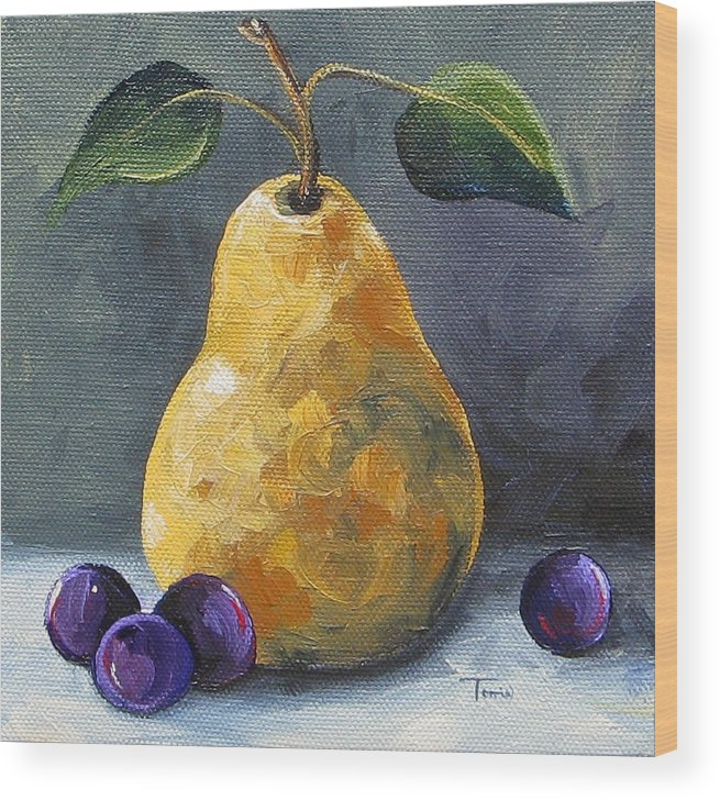 Pear Wood Print featuring the painting Gold Pear With Grapes II by Torrie Smiley