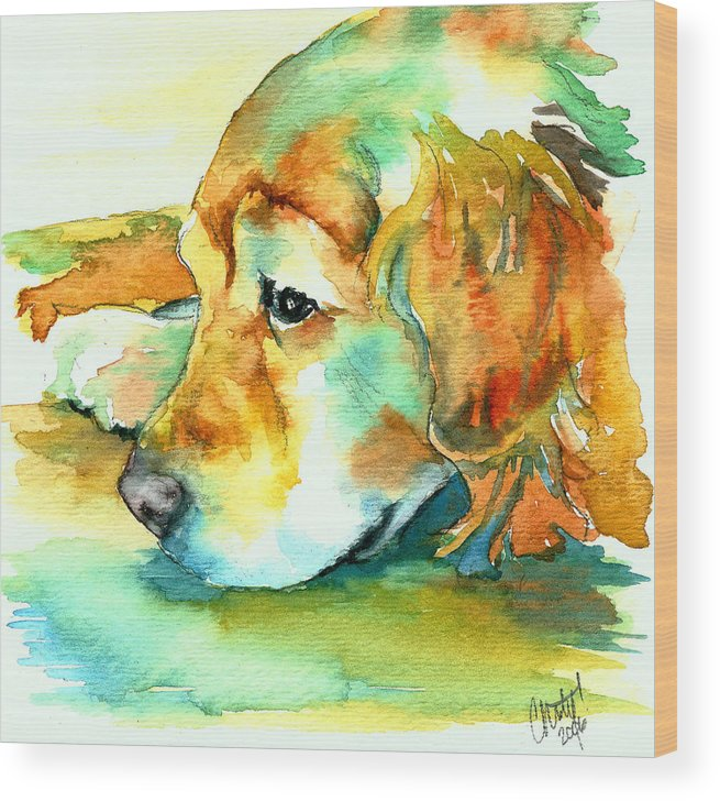Golden Retriever Wood Print featuring the painting Golden Retriever Profile by Christy Freeman