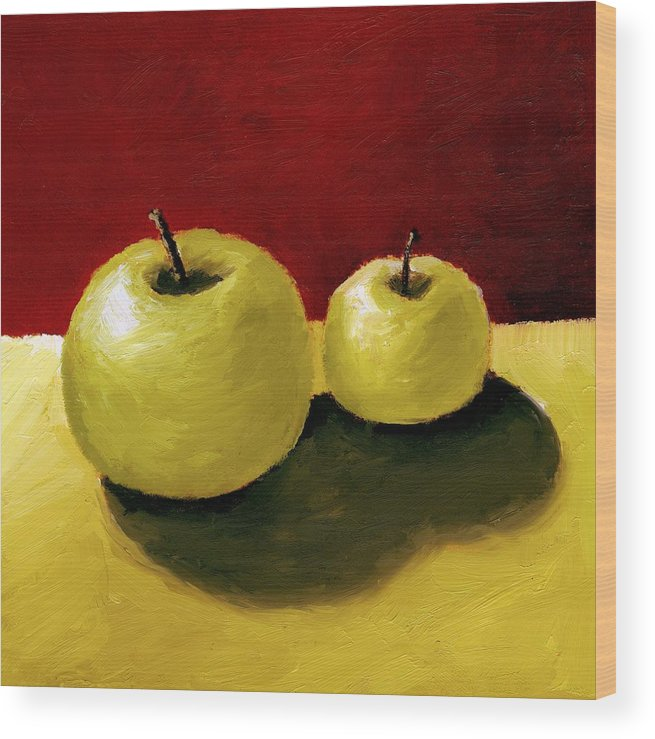 Apple Wood Print featuring the painting Granny Smith Apples by Michelle Calkins